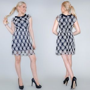 Black White Lace Dress with Collar